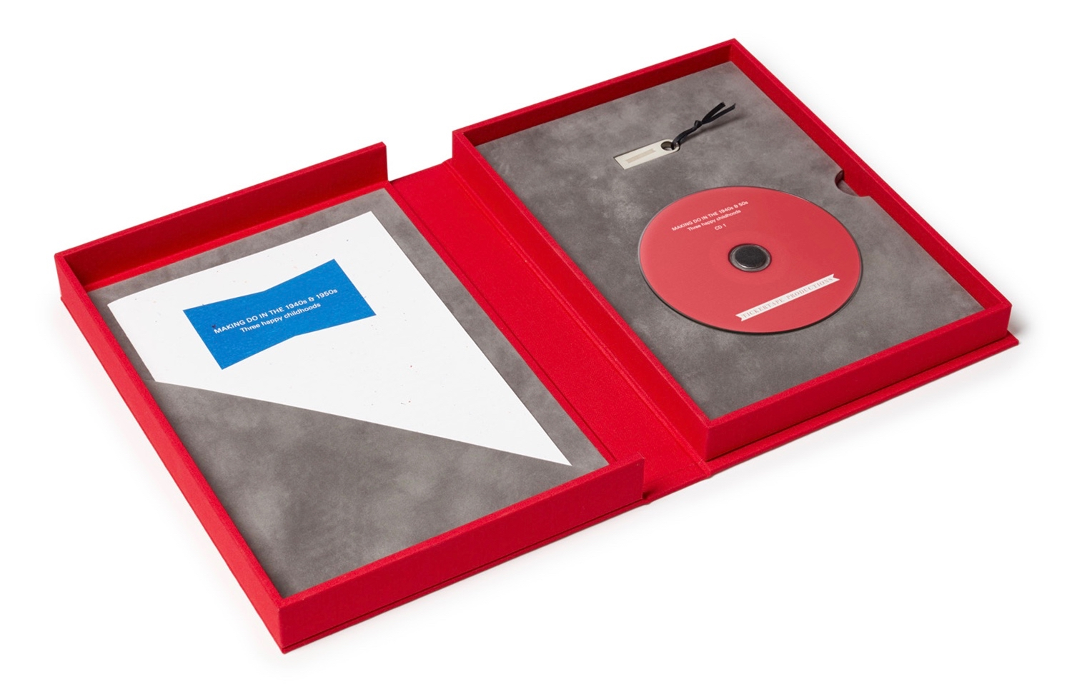 Inside the presentation boxes for our Spoken Portraits: suede-lined interiors accommodating a CD, USB stick and paper insert