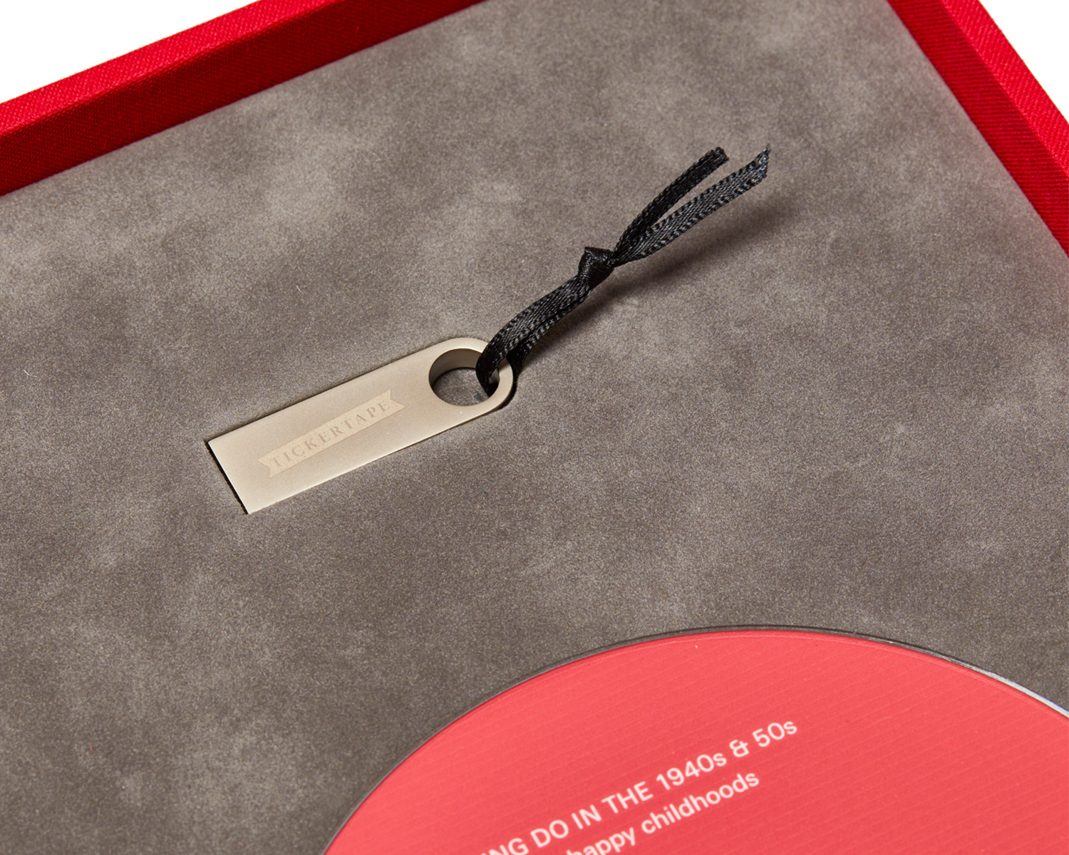 Close-up of the interior of our hand-bound presentation boxes