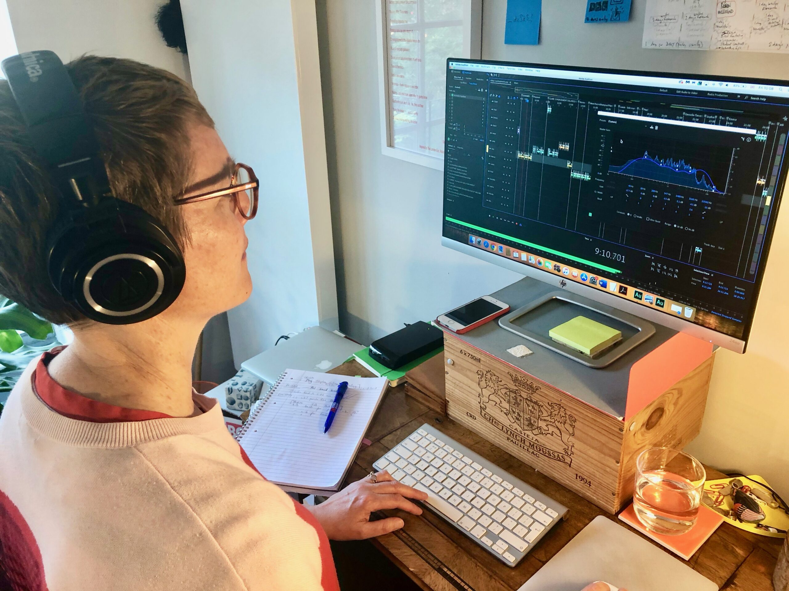 Tickertape Productions founder Rosie Oliver at work editing a Spoken Portrait