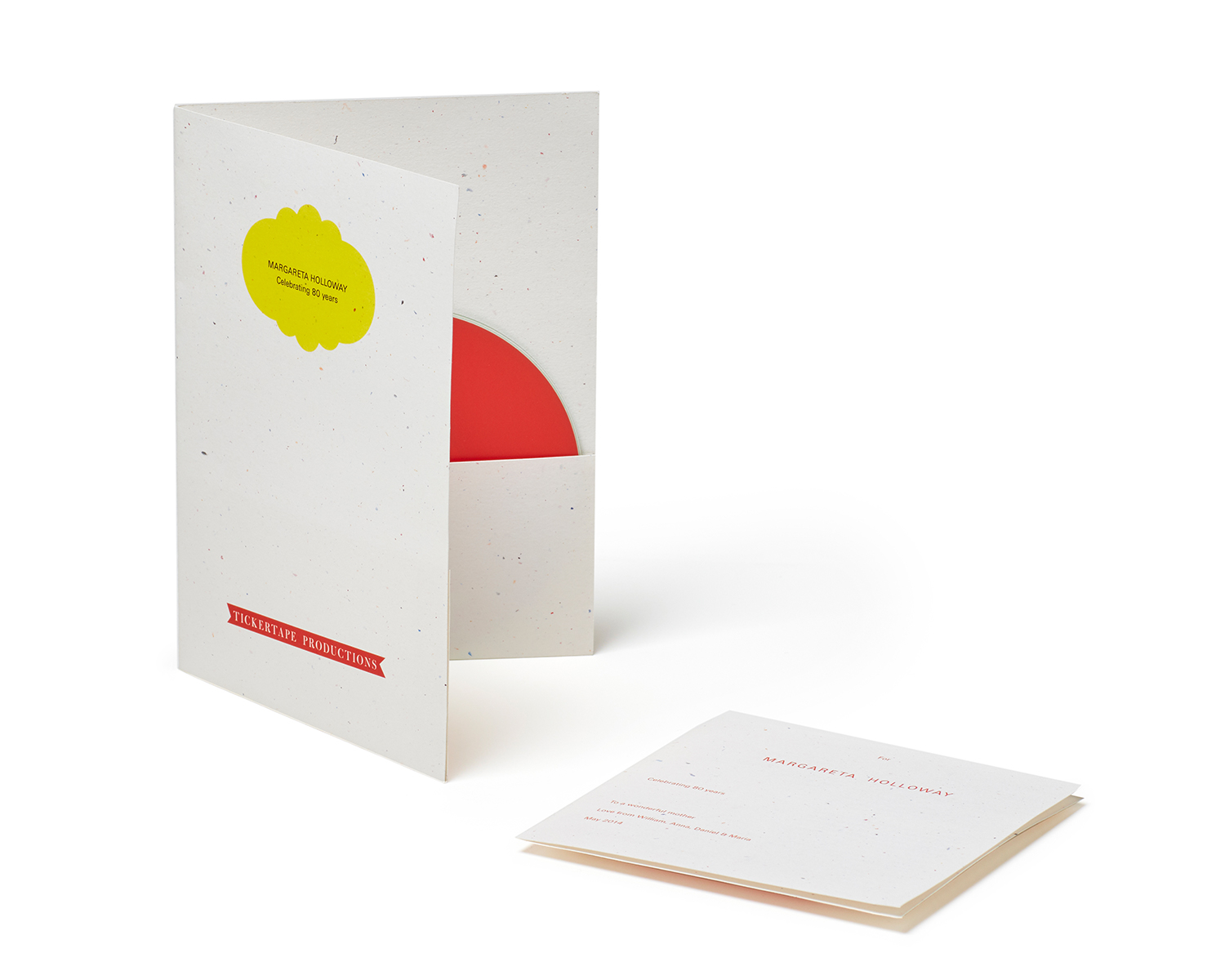Presentation for copies of Spoken Portraits: paper folder and CD insert